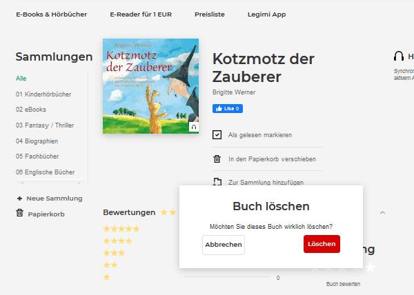 Legimi Webseite - Buch aus Regal und Kollektionen löschen