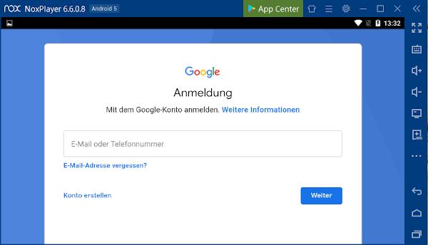 Anmeldung bei Google, um auf den Play Store zuzugreifen