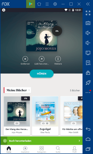 Fertig - BookBeat läuft auf dem PC, per Android Emulator