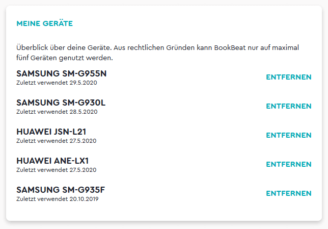 Maximal 5 Geräte bei BookBeat