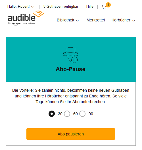 Audible pausieren