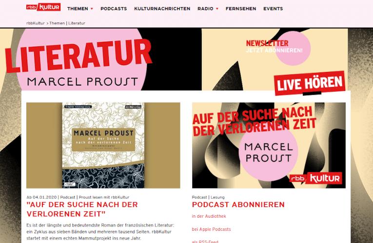 """Proust-Marathon – """"Auf der Suche nach der verlorenen Zeit"""" in 329 Folgen beim rbbkultur"""
